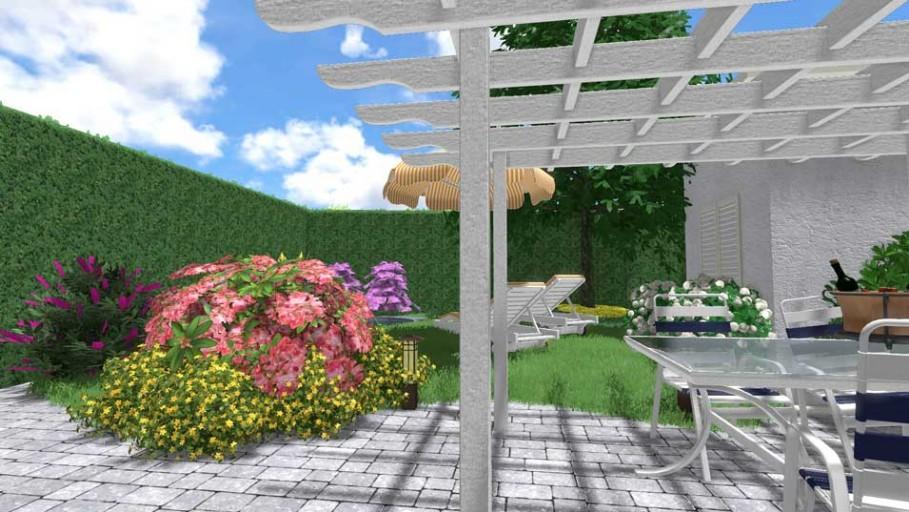 il progetto di un piccolo giardino con piscina