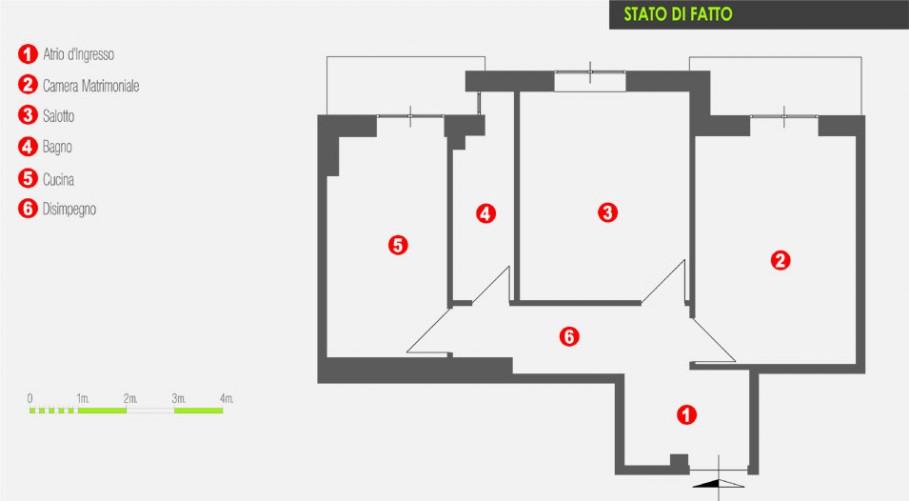 Un appartamento da 60 mq. riprogettato - Architetto On line   Come ...