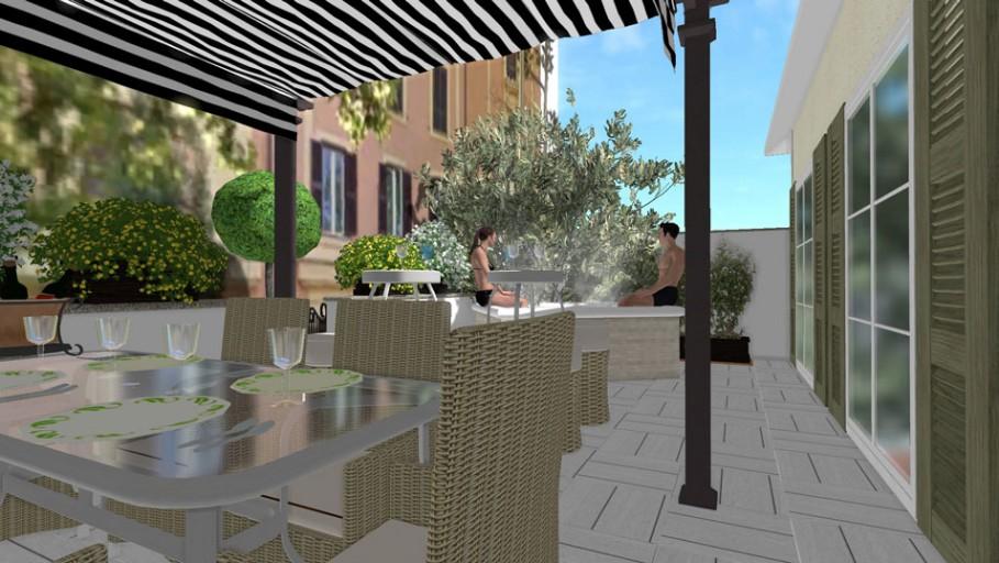 Il progetto di una terrazza fiorita in città con area relax ...